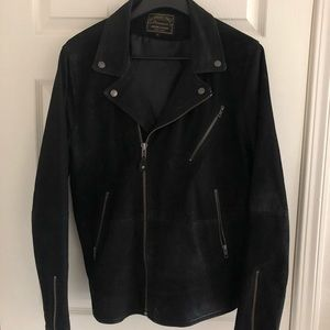 Beautiful black sueded and leather moto jacket